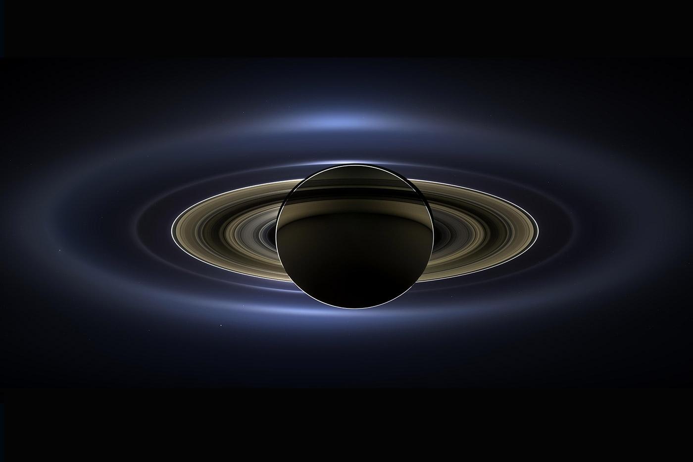 Сатурн кольца составной снимок NASA Кассини