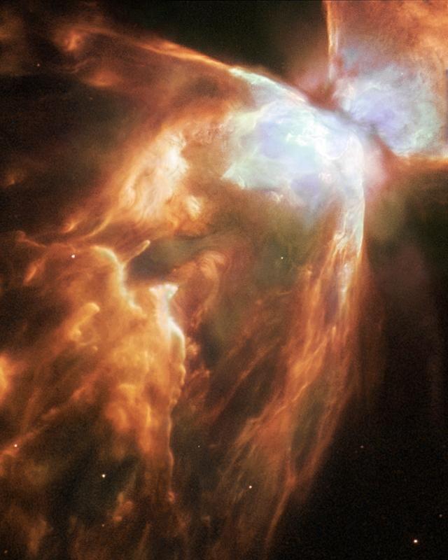 4. Планетарная туманность NGC 6302 в созвездии Скорпиона. У этой планетарной туманности есть еще два красивых названия: туманность Жук и туманность Бабочка. Планетарная туманность образуется, когда звезда, похожая на наше Солнце, умирая, сбрасывает внешний слой газа.