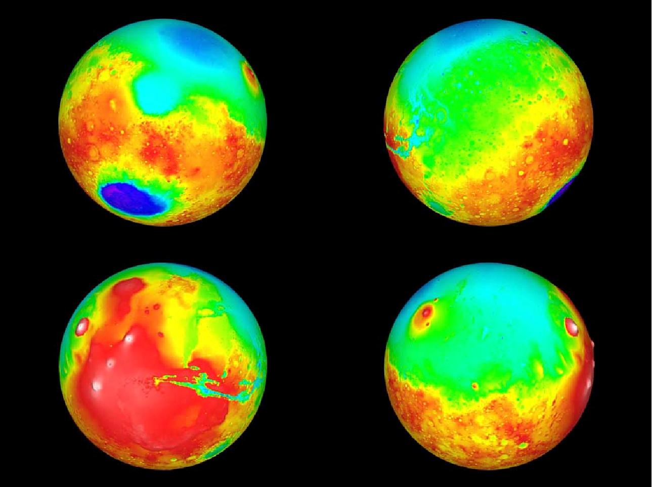 Гипсометрические карты обоих полушарий поверхности