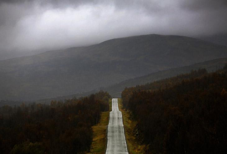 Дорога на острове Сенья в Норвегии